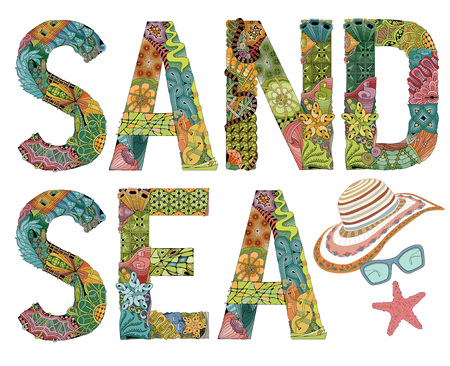 Hand-painted art design. Hand drawn illustration words sand and sea for t-shirt and other decoration
