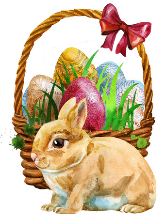 Waterciolor illustration of an Easter basket filled with eggs and a little white Easter rabbit sitting before it