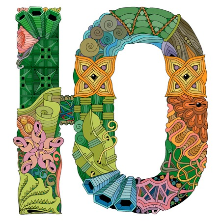 Hand-painted art design. Letter cyrillic zentangle object.