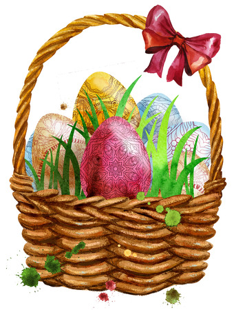 Waterciolor illustration of Easter basket filled with eggs Stockfoto - 97242788