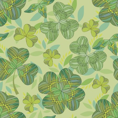 Seamless natural clover background with flowers on a green background
