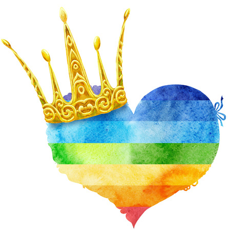 watercolor rainbow heart with crown