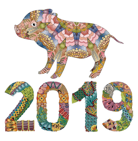 Zentangle illustration with pig and number 2019. Zentangle or doodle piglet. Piggy styled for t-shirt design, tattoo and other decorations