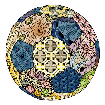 Zentangle stylized soccer ball. Hand Drawn lace vector illustration Vettoriali