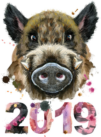Watercolor portrait of wild boar with year 2018