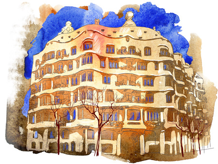 Watercolor illustration of the building of Barcelona