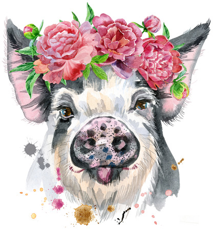 A beautiful pig in black spots in a wreath of peonies. Flowers. Watercolor illustration with splashes. Zdjęcie Seryjne - 100827740