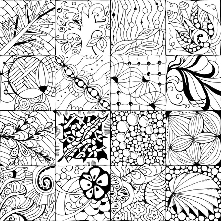Vector Adult Coloring Book Textures. various patterns in 16 pieces