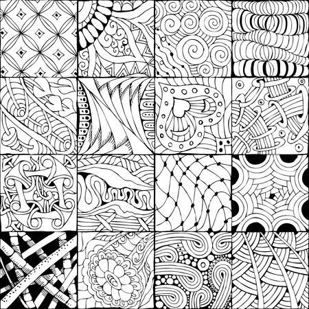 Vector Adult Coloring Book Textures. Stock Illustratie