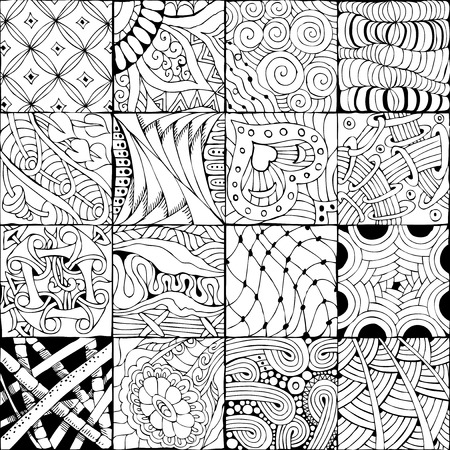 Vector Adult Coloring Book Textures. Illustration