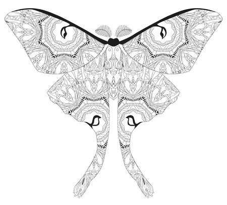 Butterfly styled with clean lines for coloring book for anti stress, t-shirt design, tattoo and other decorations. Illustration