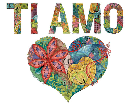 Hand-painted art design. Hand drawn illustration words TI AMO. I love you in Italian for t-shirt and other decoration.