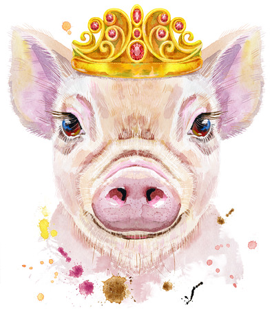 Watercolor portrait of mini pig with tiara