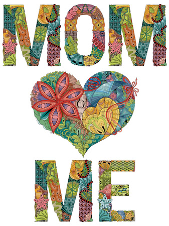 Hand-painted art design. Hand drawn illustration words MOM LOVE ME for t-shirt and other decoration