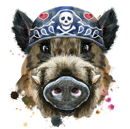 Watercolor portrait of wild boar wearing biker bandana