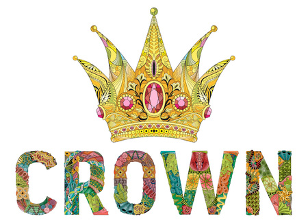 stylized crown with word. Hand Drawn lace vector illustration