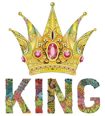 stylized crown with word king. Hand Drawn lace vector illustration