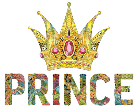 stylized crown with word prince. Hand Drawn lace vector illustration Illustration