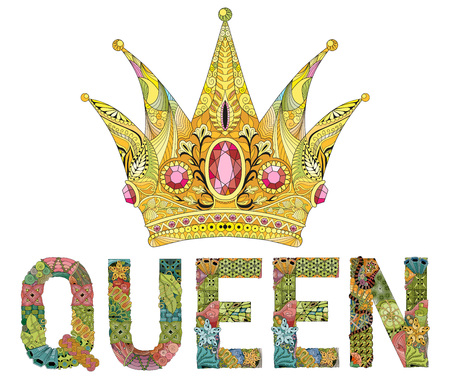 Zentangle stylized crown with word queen. Hand Drawn lace vector illustration