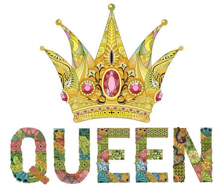 Zentangle corona stilizzata con parola regina. Illustrazione vettoriale di pizzo disegnato a mano Vettoriali