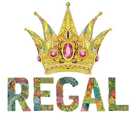 Crown with word regal zentangle styled for t-shirt design, tattoo and other decorations Vettoriali