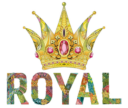 Crown with word royal zentangle styled for t-shirt design, tattoo and other decorations Illustration