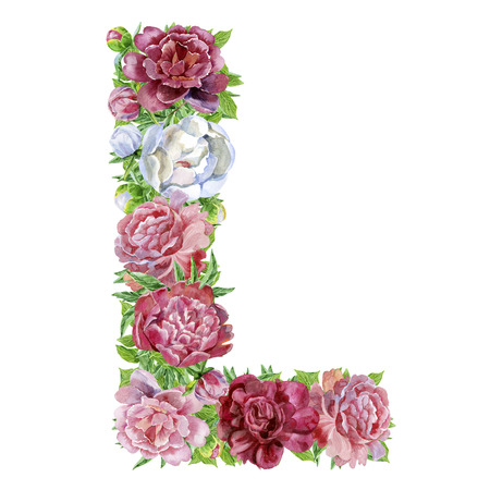 Letter L of watercolor flowers, isolated hand drawn on a white background, wedding design, english alphabet