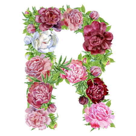 Letter R of watercolor flowers, isolated hand drawn on a white background, wedding design, english alphabet Stock Photo
