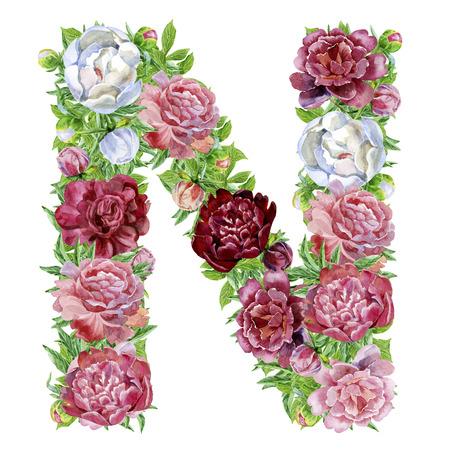 Buchstabe N von Aquarellblumen, isolierte Hand gezeichnet auf einem weißen Hintergrund, Hochzeitsentwurf, englisches Alphabet Standard-Bild