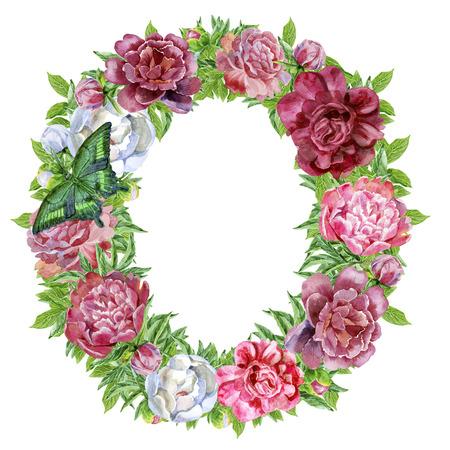 Letra O de flores acuarela, dibujado a mano aislado sobre un fondo blanco, diseño de boda, alfabeto inglés