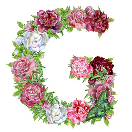 Letter G of watercolor flowers, isolated hand drawn on a white background, wedding design, english alphabet