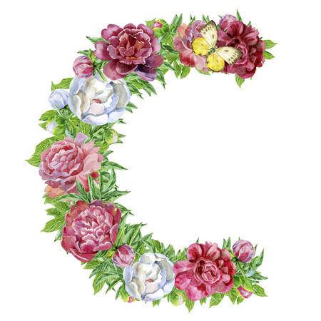 Letter C of watercolor flowers, isolated hand drawn on a white background, wedding design, english alphabet
