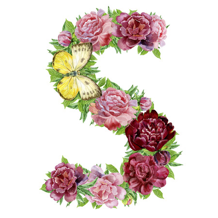 Letter S of watercolor flowers, isolated hand drawn on a white background, wedding design, english alphabet