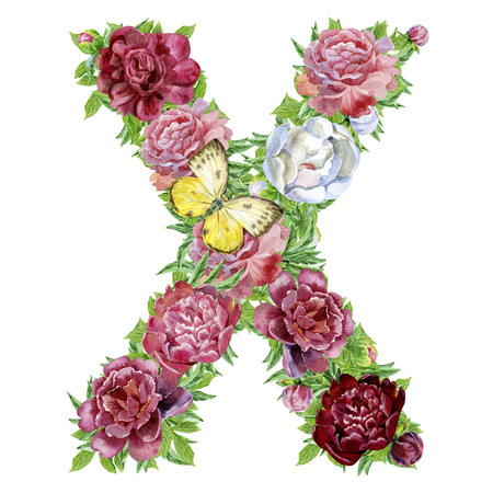 Letter X of watercolor flowers, isolated hand drawn on a white background, wedding design, english alphabet Фото со стока