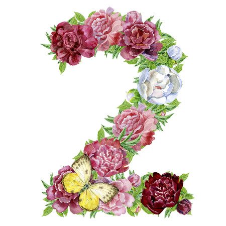 Number two of watercolor flowers, isolated hand drawn on a white background, wedding design, english alphabet Imagens