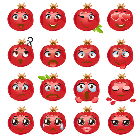 Set of vector stickers, emojis with cute pomegranate Illustration