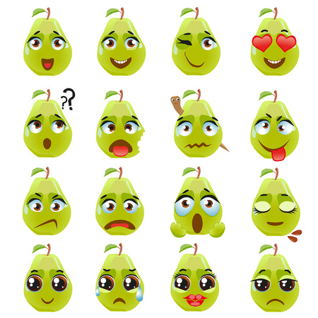Set of stickers, emojis with cute pear