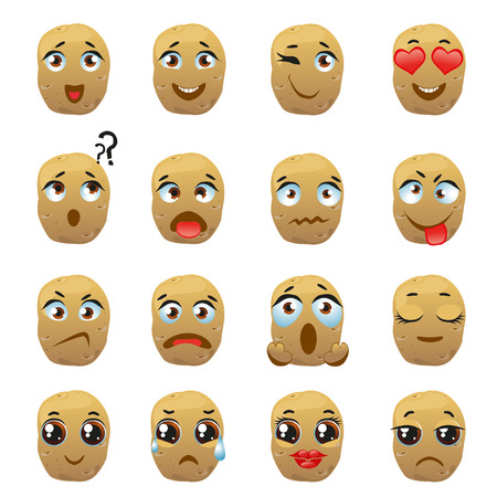 Set of stickers, emojis with cute potato Illustration