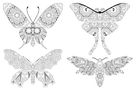 Set of butterflies zentangle styled with clean lines for coloring book for anti stress, T - shirt design, tattoo and other decorations