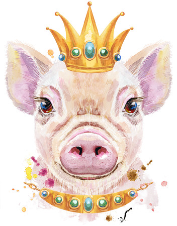 Cute piggy. Pig for T-shirt graphics. Watercolor pink mini pig illustration with crown