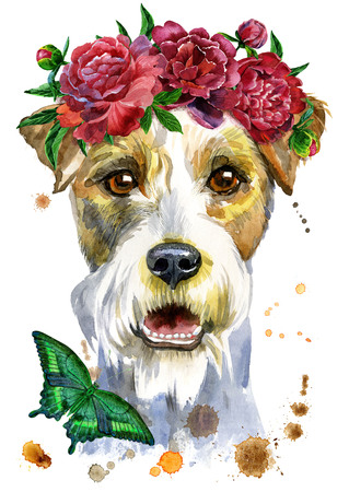 Cute Dog. Dog T-shirt graphics. watercolor airedale terrier illustration with flowers Stock Photo