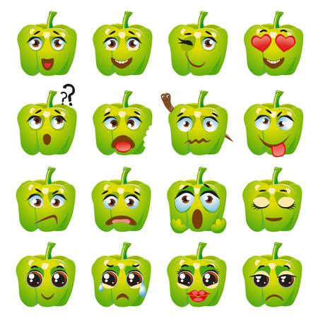 Set of stickers, emojis with cute green pepper