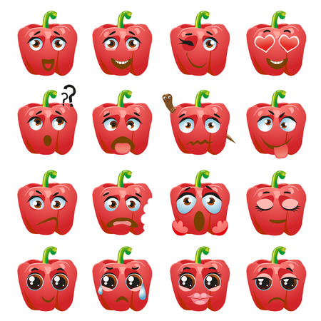 Set of stickers, emojis with cute pepper Ilustração