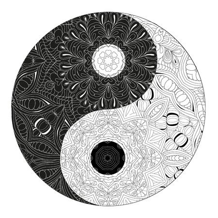 Symbole dessiné main décoratif Yin et yang pour cahier de coloriage