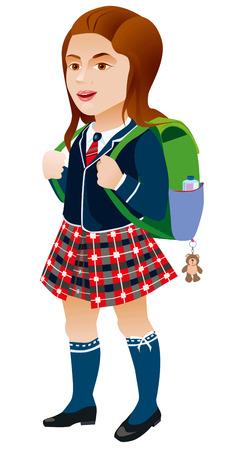 Joyful girl in a hurry to go to school