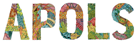 Hand-painted art design. Hand drawn illustration word APOLS for t-shirt and other decoration