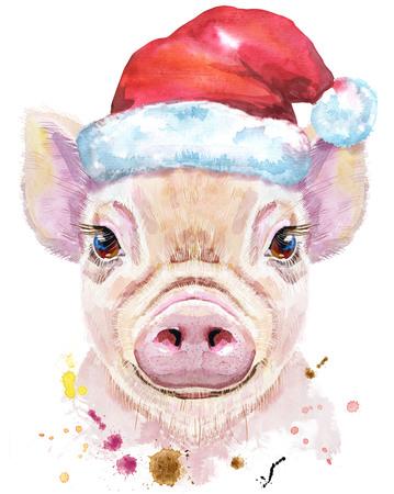Cute piggy in a Santa hat. Pig for T-shirt graphics. Watercolor pink mini pig illustration
