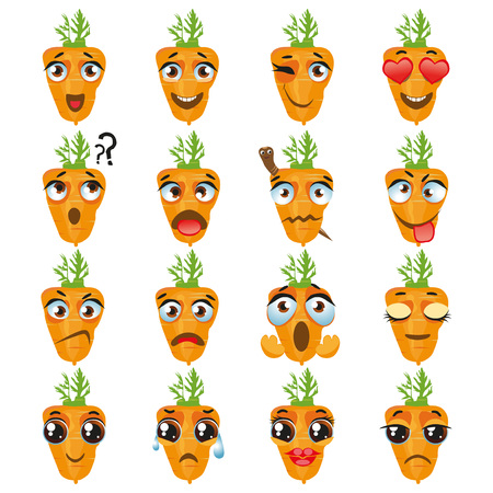 Set of vector stickers, emojis with cute Carrot