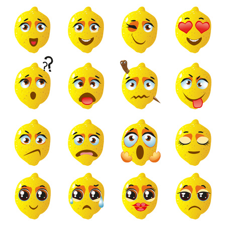 Set of vector stickers, emojis with cute lemon Stock Photo