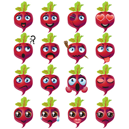 Set of vector stickers, emojis with cute Beetroot Illustration
